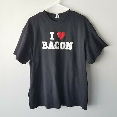 "Unbranded T-shirt Size 2XL Black White Red ""I Love Bacon"" Short Sleeve"