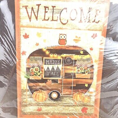 "Briarwood Lane Fall Camper Owl Pumpkins Welcome House Flag 28"" x 40"" Nip"