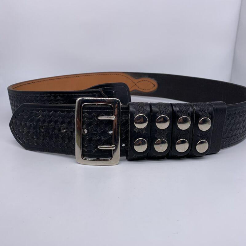 TEX Shoemaker & Son Leather Duty Belt Black Basket weave SZ N42