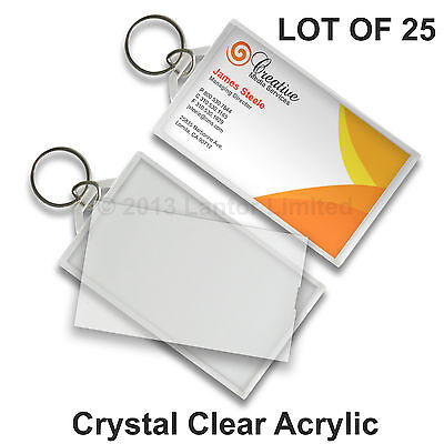 Acrylic Key Chain Snap-In Business Card Tag Clear 25 pcs #KC70-Clear-25# Clear Acrylic Key Tag