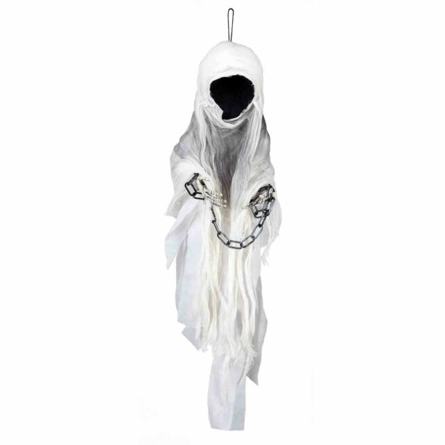 Hanging Faceless Ghost Halloween Prop 1m Tall Chained Ghoulish Horror Prop