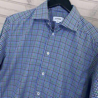 ETON Slim Fit Fine Twill L/S Cotton Dress Shirt Multicolor Plaid Men's Size 15.5