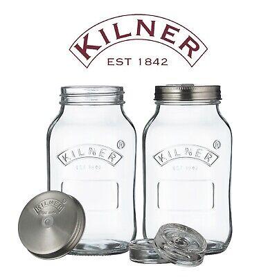 Kilner Set of 2 x 1 Litre Glass Fermentation Jars for Making Sauerkraut & Kimchi