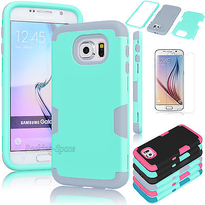 Film + New Hybrid Rugged Rubber Shockproof Hard Case Cover For Samsung Galaxy (Best Galaxy S6 Cases)