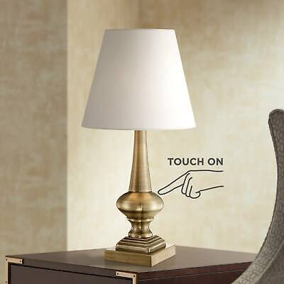 Traditional Table Lamp Antique Brass Touch On White Shade fo