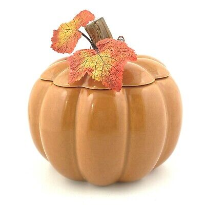 "FTD Ceramic Lidded Cookie Jar Pumpkin Fall Decor 6.5"" by 6"" Crackle Finish"