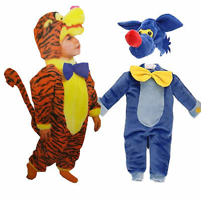 Baby Kinder Kostüm Fasching Tier Tiger Fuchs Jungs Einteiler 12-18 (Tiger Kostüm Jungen)