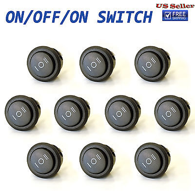 10x Onoffon 3 Position Spdt Round Rocker Switch 10a125v 6a250v