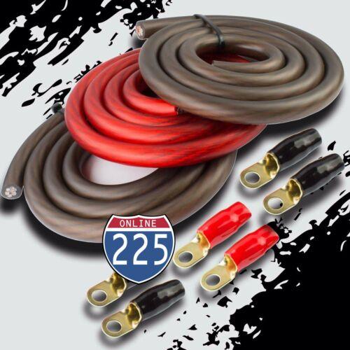 BIG 3 Upgraded 1/0 AWG Gauge Red & Black Alternator Electrical Wiring Combo Kit