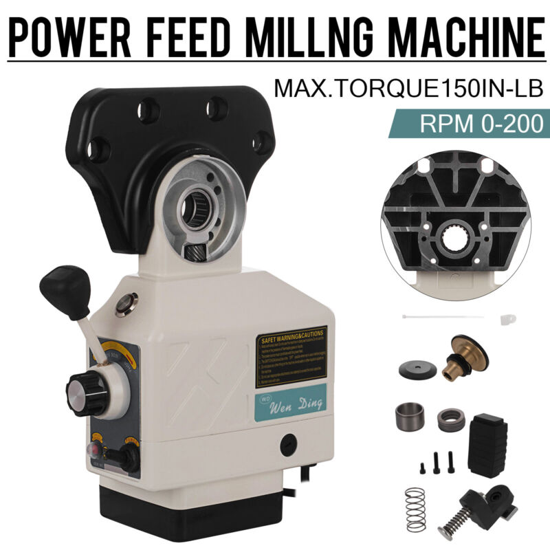 X-Axis Power Feed 150 Lbs Torque for Bridgeport Type Milling Machines 0-200 RPM