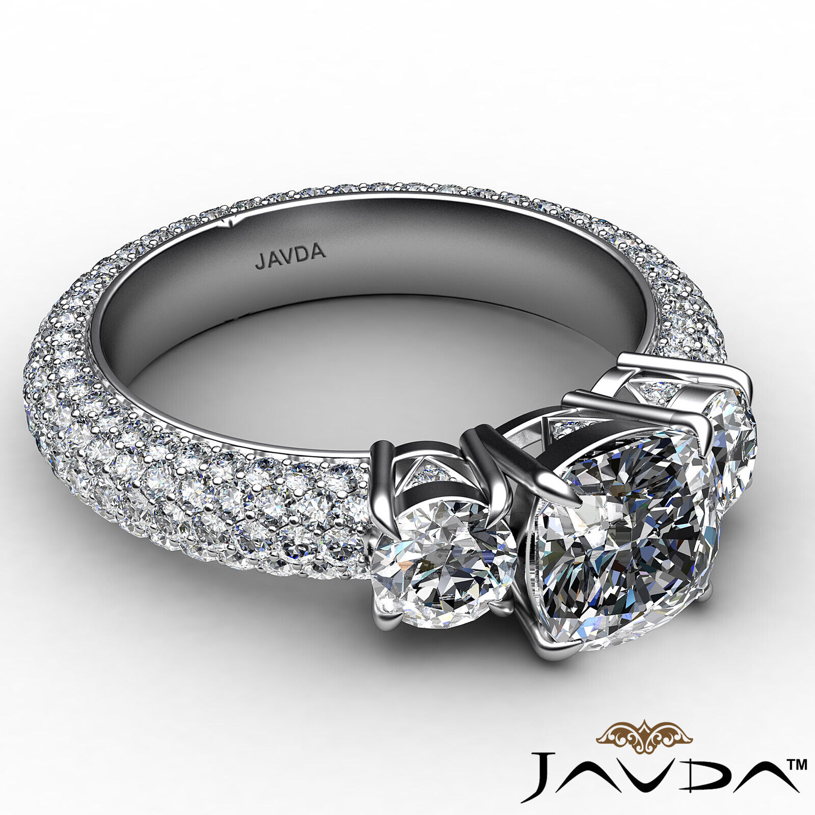 Cushion Diamond Engagement Ring Certified by GIA, G Color & SI1 clarity 3.44 ctw 6