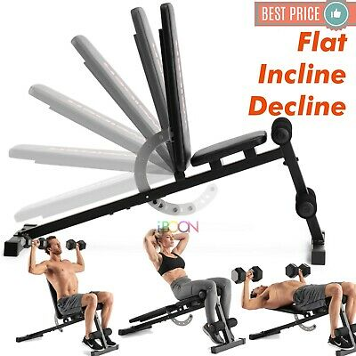 ADJUSTABLE Workout WEIGHT BENCH Flat Incline Decline Exercise Strength Training