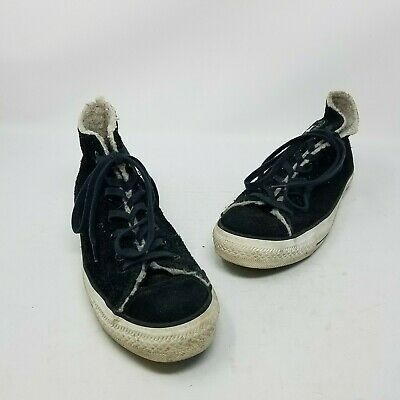 Converse Leather Shearling All Star Chuck Taylor Hi Tops Sneakers Shoes Womens