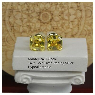 1.24CT/E Canary Asscher Cut Solitaire Gold Plated Sterling Silver Stud Earrings