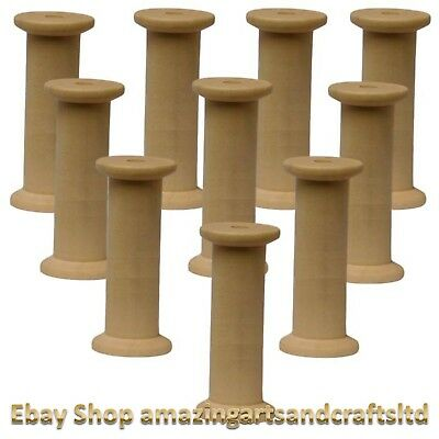 Wooden Bobbins Spools 75mm 10 Pack Sewing Ribbon Textile Yarn Craft Cotton Reels