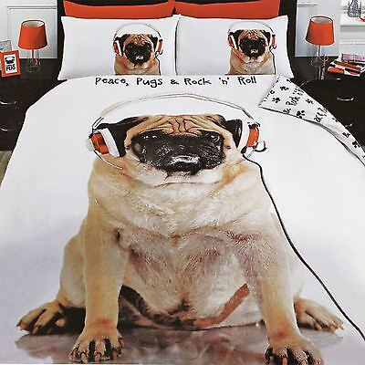 ROCK N ROLL PUG COVER AND PILLOWCASE SET BEDROOM BEDDING ANIMAL DOG NEW