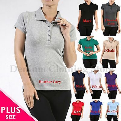 - Plus Size Women's Classic Jersey Short Sleeve Cotton Polo Shirts Tops 1X 2X 3X