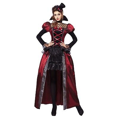 Adult Women's Gothic Victorian Vampiress Queen Halloween Costume Dress S M L  - Women's Victorian Vampire Goth Dress Halloween Costume