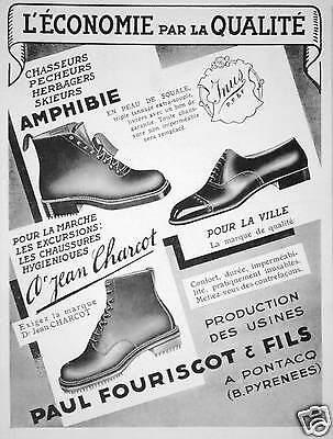 PUBLICITÉ 1934 CHAUSSURE EN PEAU DE SQUALE POUR CHASSEURS PÊCHEURS  - CHARCOT