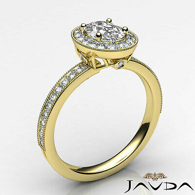 Milgrain Edge Pave Bezel Set Halo Oval Diamond Engagement Ring GIA F VVS2 1.21Ct 8