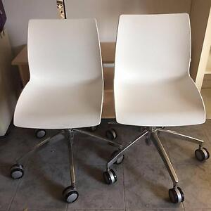 WHITE OFFICE CHAIRS ON WHEELS X 2 Pagewood Botany Bay Area Preview