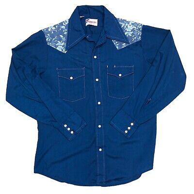 1970s Men's Shirt Styles – Vintage 70s Shirts for Guys Mens Vintage 1970s Pearl Snap Western Shirt Medium Rappers USA Big Collar BLUE $38.59 AT vintagedancer.com