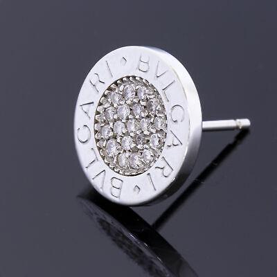 Authentic Single Bvlgari 18k 750 White Gold & Diamond Stud Earring Logo