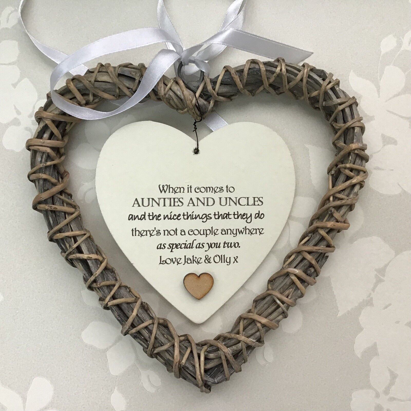 Shabby personalised Chic Special Auntie & Uncle Gift Aunty ANY NAME Willow Heart