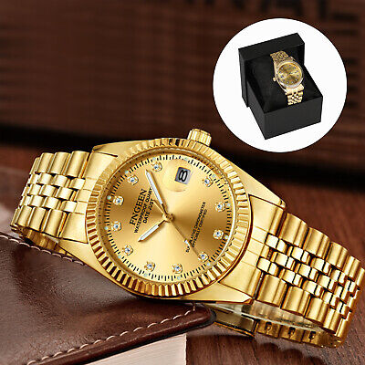 Waterproof Men's Stainless Steel Quartz Watch Relojes Hombre Luxury Wristwatch