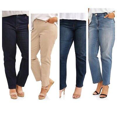 Classic Straight Leg Pockets - Women's Plus 5 Pocket Classic Straight Leg Stretch Jean 14W 16W 18W 20W 22W 24W