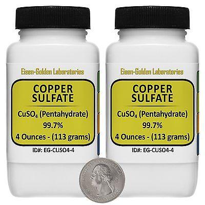 Copper Sulfate Cuso4 99.7 Acs Grade Powder 8 Oz In Two Easy-pour Bottles Usa
