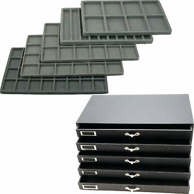 Large Jewelry  Organizer Case 5-Drawer Tray Insert Storage Display Watch Ring