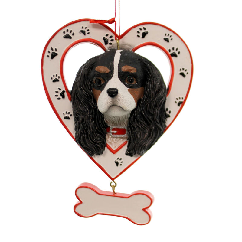 Personalized Ornament DOG IN HEART W/BONE ORNAMENT Resin A1435 King Charles