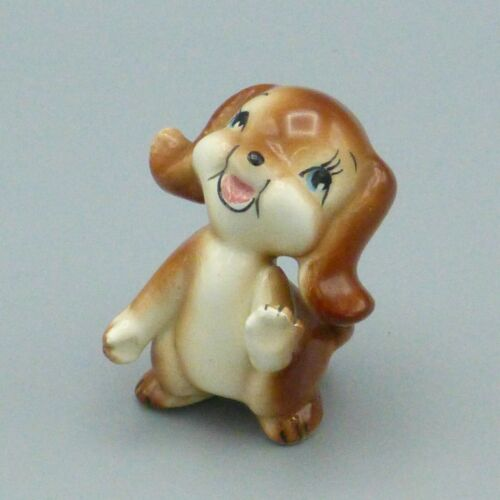 "Vintage Ceramic Smiling Puppy Dog Figurine Mid Century Japan Small 2.25"" Lefton?"