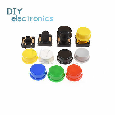 Momentary Tactile Push Button Touch Micro Switch 4p Pcb Caps 12x12x7.3mm-12mm Us