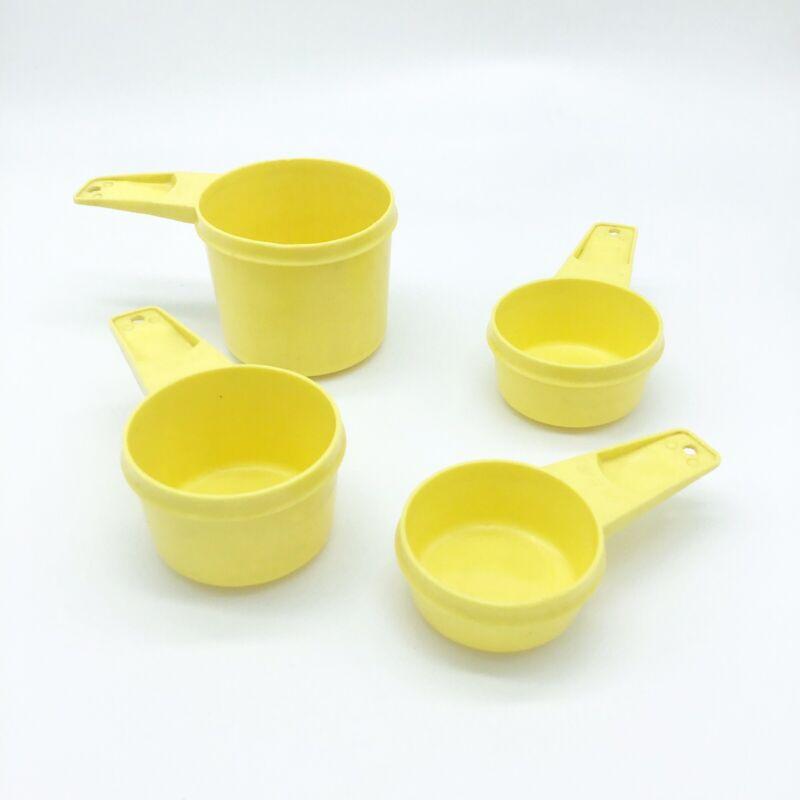 Vintage Set of 4 Tupperware Measuring Cups Bright Yellow Retro Kitchen
