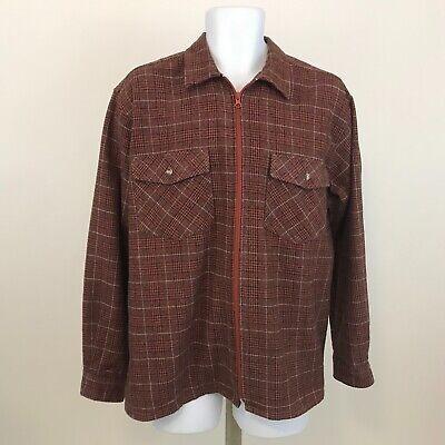 Vintage Jack Frost Shirt Jacket Mens Size L Full Zip Orange Plaid Long Sleeve