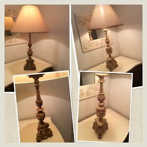 2 gilded wooden antique alter pricket candlesticks made to lamps