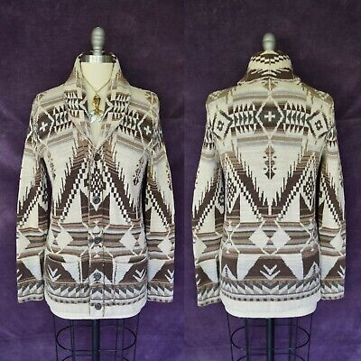 Vtg Ralph Lauren blue label Cardigan SWEATER Aztec SOUTHWESTERN Indian tribal M