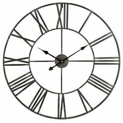Large Metal Wall Clock 30 Industrial Rustic Big Metal Distressed Gray Roman Num