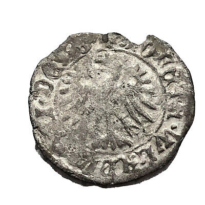 Late/Post Medieval European Silver Coin Eagle Old Middle Ages Artifact Old C3