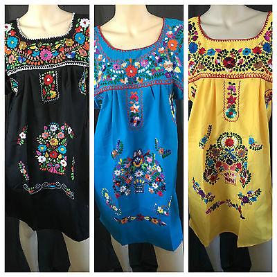 ABOVE KNEE EMBROIDERED MEXICAN PEASANT HIPPIE MINI BOHO DRESS  S M L XL XXL - Hippy Dress