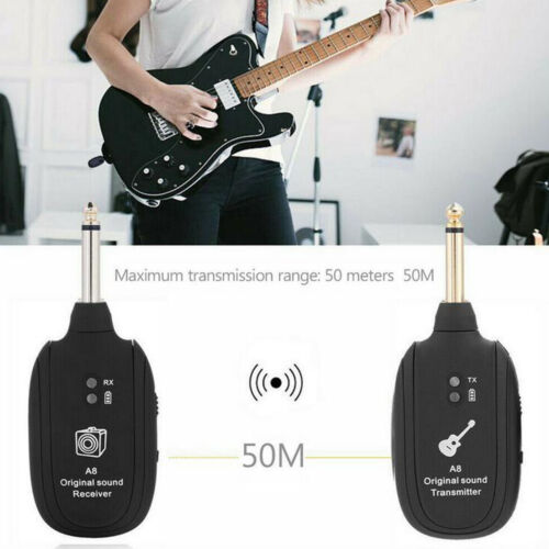 UHF Wireless Guitar Transmitter Receiver System Built-in Rechargeable 20Hz-20kHz - $22.91