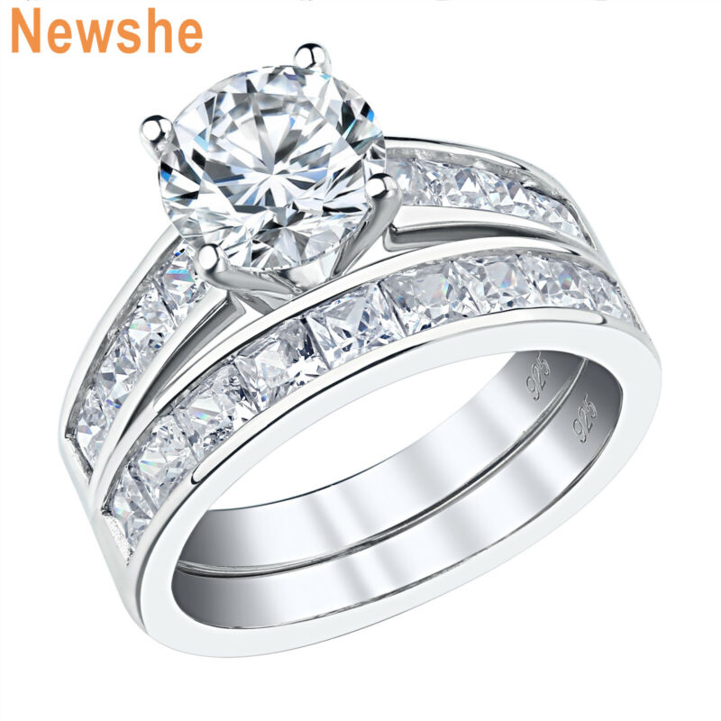 Newshe Wedding Engagement Ring Set Women 925 Sterling Silver 3ct Round Aaaa Cz