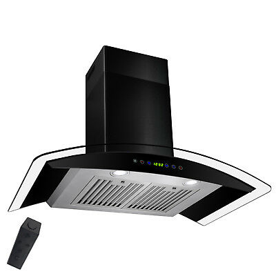 """36"""" Wall Mount BLACK Stainless Steel Range Hood Remote Timer Clock Stove Vent"""