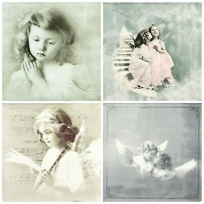 4x Paper Napkins for Decoupage Decopatch - Sagen Vintage Angels -Mix