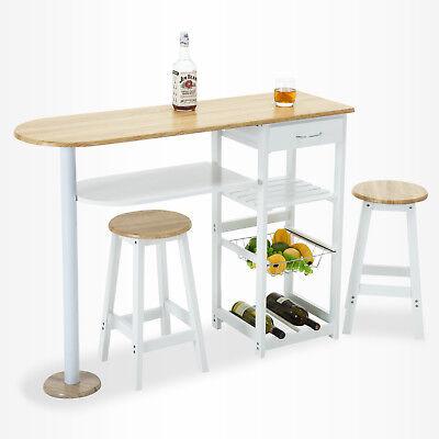 Oak White Kitchen Island Trolley Cart Dining Table Storage 2 Bar Stools & Drawer