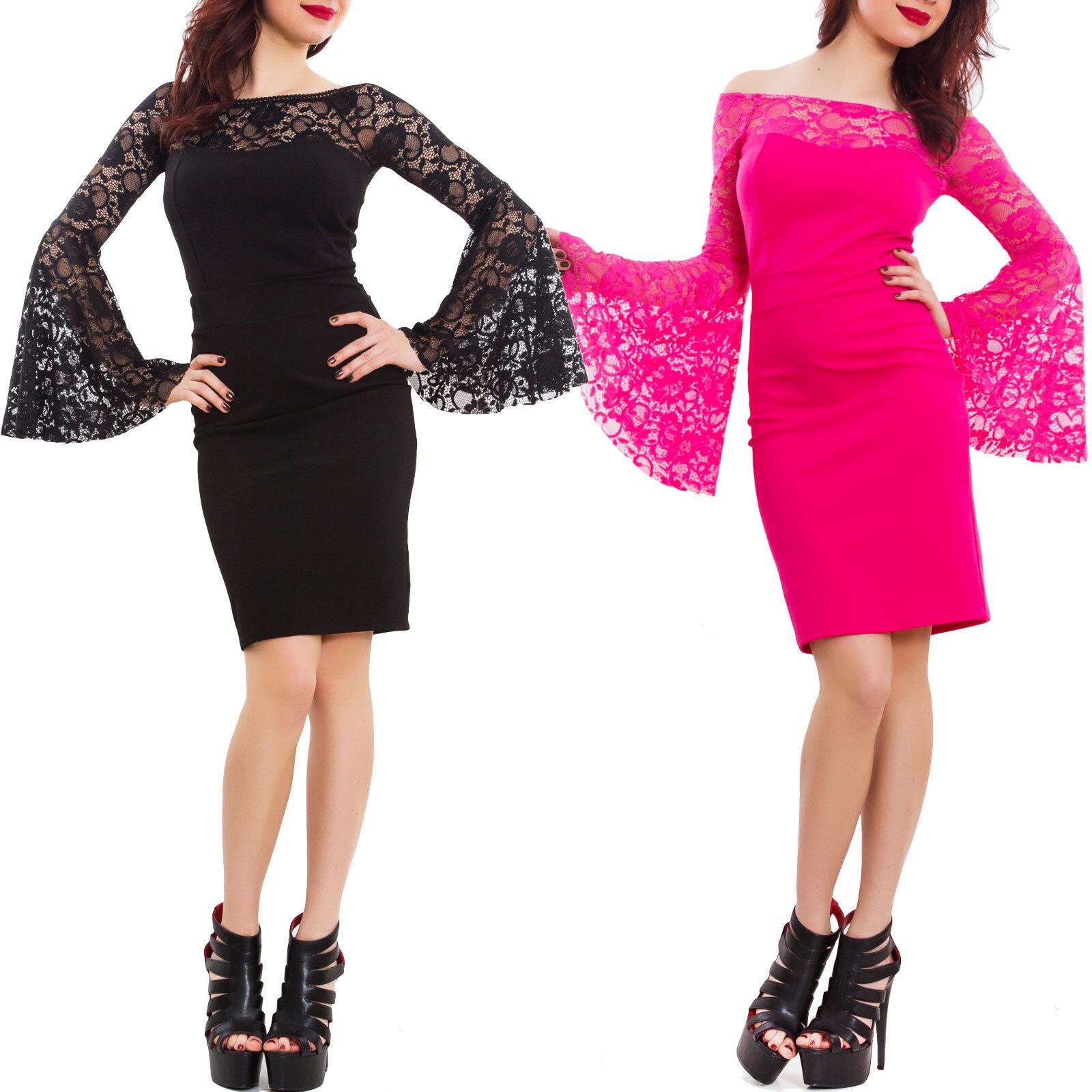 details about dress woman mini dress sleeve wide blow lace transparent  elegant gi-9142- show original title
