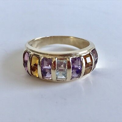 (Estate 14K Yellow Gold Multi Stone (4) Ring Amethyst, Citrine, Garnet, Aqua)