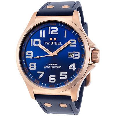 TW Steel TW405 Men's Pilot 48mm Rose Gold-Tone Blue Dial Blue Leather Watch